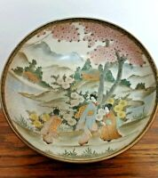 "SIGNED ""Sanbon-zan"" Meiji Era Japanese Satsuma Porcelain 6"" Bowl Cherry Blossoms"