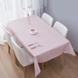 2 X Waterproof Tablecloth Gingham Checkered Desk Cover Reusable Protector Decor