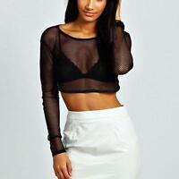 Women Fishnet Mesh Sheer See-through Long Sleeve Crop Top Shirt Blouse Bodysuit