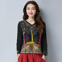 Women Folk Top Blouse Chinese Embroidery T-shirt Floral Cotton Long Sleeve Shirt