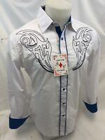 Mens RODEO WESTERN COUNTRY WHITE Long Sleeve Woven SNAP UP Shirt Cowboy 06660