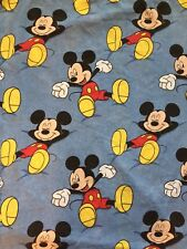 Mickey Mouse Twin Flat Sheet - Sleeping - Asleep Awake - Denim Print - EUC
