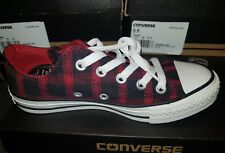 Converse All Star Ox Low Trainers - Black/Chilli Pepper/Red Check UK Size 3 BNIB