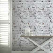 Arthouse Painted Brick Pattern White Washed Realistic Mural Wallpaper