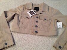JESSICA SIMPSON Cropped Jacket Beige Sand Tan Juniors Size Medium M W/ Stretch