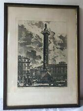 Antica stampa-incisione Roma Colonna Antonina-Palazzo Ghigi - Piranesi