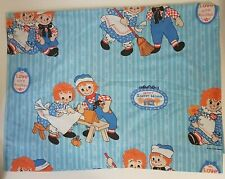 Vintage Raggedy Ann and Andy Blue Flat Twin Bed Sheet