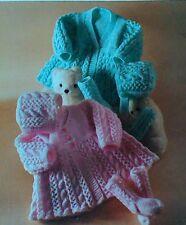 Knitting pattern Girls Matinee Coats, Bonnet & Socks 3 sizes DK