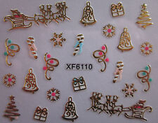 Christmas 3D Nail Art Stickers Decals Gold Snowflakes Sleigh Candy Cane (XF6110)