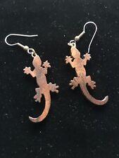 Gecko Wooden Earrings, Drop Style Hooks, Tropical wood, brown, woodgrain