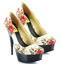 Hugo Blue White Pink Floral Round toe Pump Stiletto Heels Women's shoes