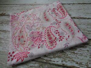 POTTERY BARN Elizabeth Paisley Floral Shower Curtain Pink Tan Cotton