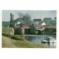 A small train on the swing bridge over the River Somme, unposted French postcard