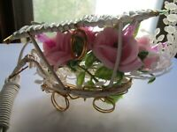Vintage Electrified Pink Plastic Carriage Flower Light Christmas Holiday Decor