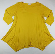 Larace Womens Solid Mustard Yellow Stretch 3/4 Sleeve Blouse Size 2X