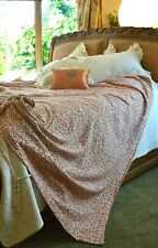 SOFT SURROUNDINGS LEOPARD CHENILLE  COTTON COVERLET KING TOASTED ALMOND