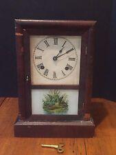 Antique Ansonia Pendulum Mantel Shelf Clock Reverse Painting of Ducks c. 1878