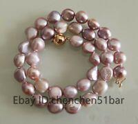 schöne kultivierte 11-12mm lila barocke Süßwasser Perlenkette 18 Zoll