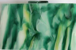 Australian Designed Green Marble Acrylic Clutch Purse w/ Gold Chain Strap NIB