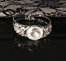 Faceted Quartz Crystal Cabochon, Rhinestone studded Bracelet