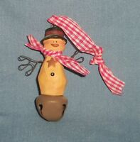 Country Snowman & Metal Bell Christmas Tree Ornament Resin Hat Scarf Wire Hands