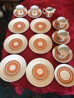 18 x Henneberg 1777 Kaffeegeschirr Streifen orange braun rot DDR Porzellan