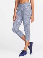 ef2e423391bb9b Old Navy Mid-Rise Printed Compression Crops for Women Blue Multi Sz M  #138732