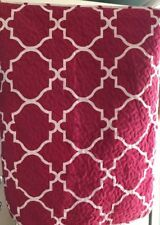 Max Studio Home Pillow Shams Geometric. White& Magenta Microfiber Tie Back