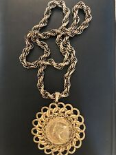 Vintage C1970 SIGNED MIRIAM HASKELL Egyptian Revival COIN Necklace Pendant LONG