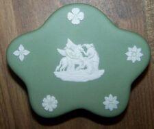 Wedgewood Sage Green Jasperware Lidded Star Shape Trinket Box - Cherubs & Maiden