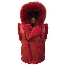Men's Red Napa Finish Shearling Sheepskin Vest & Genuine Fox Fur Hood,  Size 4XL