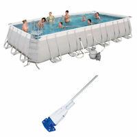 Bestway 24ft x 12ft x 52in Rectangular Above Ground Pool Set w/ Pool Vacuum