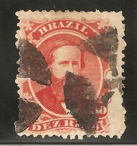 BRAZIL-1876- D.PEDRO II-10 REIS- Red- used stamp-Y&T nr.30- RHM nr. 30