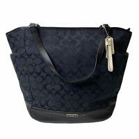 COACH Black Signature Canvas North South Dual Leather Straps Tote Handbag NWT