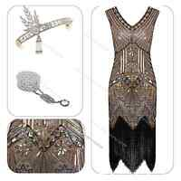 1920s 1930s Flapper Dress Great Gatsby Charleston Sequin Fancy Fringe Costume