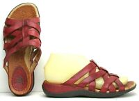 Ariat Womens Sandals size 6.5 B Slides Strappy Distressed Red Leather Shoes B3