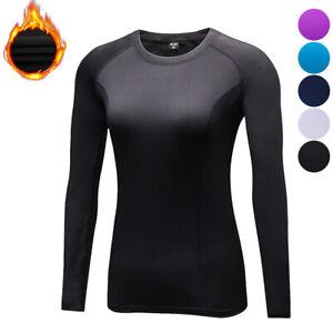 Womens Basic Active Fitness Fleece Base Layer Long Sleeve Shirt with Thumbhole