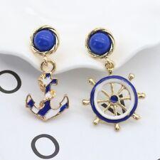 Blue Anchor Rudder Earrings Women Ladies Wedding Party Creative Earring Jewelry