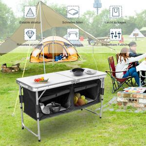 Campingküche Faltbar Sideboard 2 Fächer Alu Aufbau-Schrank Kofferschrank