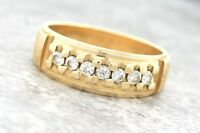 Ladies Vintage Novell 14K 585 Yellow Gold Diamond Eternity Textured Band Ring
