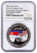 2018 Singapore US Korea Summit High Relief 1 Oz Silver Medal NGC PF70 UC