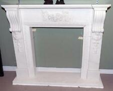 Elegant White Hand Carved Marble Fireplace Mantel #3795, French Influence