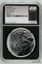 NGC MS70 UCAM FIRST RELEASES 2018 DARTH VADER 1 oz .999 SILVER $2 NIUE STAR WARS