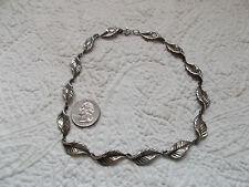 Vintage DANECRAFT Sterling Silver Leaf Choker Necklace