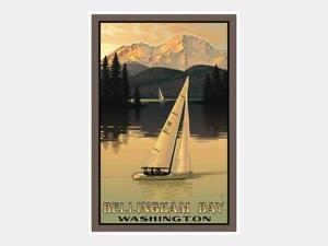 Bellingham Washington Sailboating Giclee Art Print Poster from Original Travel