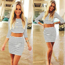 1Set Women Zebra Stripes Casual Two Pieces Three Quarter Sleeves Sheath Dress