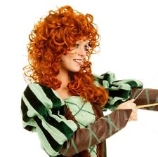 Princess Paradise Forest Wig Curly Womens Adult Red Brave Medieval Ren Merida