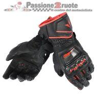 Guanti pelle lunghi Dainese Druid D1 Long nero rosso moto sportivi pista corsa