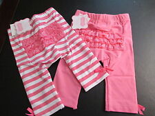 Mud Pie Hot Pink Playground Shorties, Solid and Striped, 9-12 Mos, Set of 2, NWT