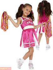 Smiffys Children's Cheerleader Costume Child Dress and Pom Poms Colour Pink